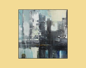 "Black,Gray,Blue, yellow,abstract painting,36""x36""on gallery wrapped stretched canvas ready to hang"