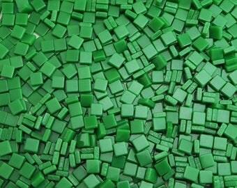 Resin mosaic tiles 5x5mm, Opaque effect, Fern Green