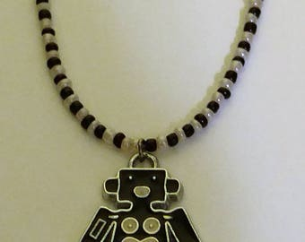 Black and Pink Robot  Necklace