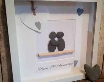 Happy 25th Anniversary - Cornish Pebble Art Picture
