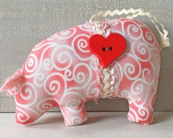 pot bellied pig ornament - pink pig ornaments - Valentine ornaments - handmade fabric pig ornament - shabby cottage decor - novelty ornament