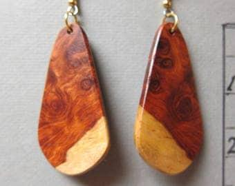 Beautiful Afzelia Burl Drop long Earrings ExoticWoodJewelryAnd handcrafted ecofriendly