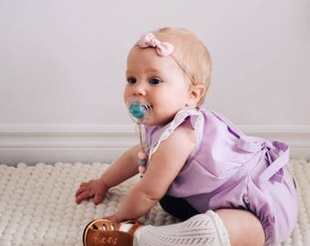 6-12m Purple Lace Romper, Baby Outfit, Cake Smash, Baby Shower, First Birthday, Rustic Wedding, Newborn Photography Props, Sunsuit