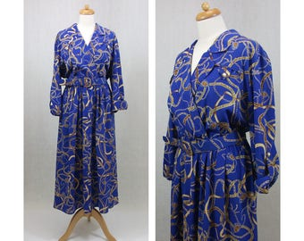 MS CHAUS 70s 80s vintage dress. Blue dress. Versace style chain print dress. Blue and yellow dress. Midi dress. Shirtwaist dress. Size XL.