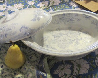 Lovely Antique Blue & White Domed Cover French? Tureen
