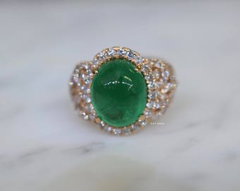 18K Rose Gold Oval Cabochon Emerald And Diamond Ring