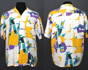 80's Men's Shirt.......80's New Wave Colorful Abstract Print Summer Shirt