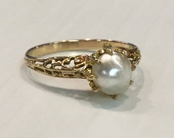 Vintage Art Deco 10k Yellow Gold Filigree Mobe Pearl Ring Size 6