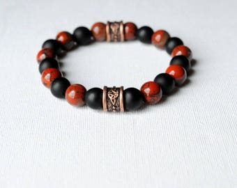 Mens matte black onyx bracelet Jasper red one-piece copper