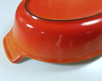 Vintage Enameled Cast Iron Descoware Casserole Dish in Sunset