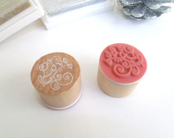"""Wood and rubber stamp """"LOVE"""""""