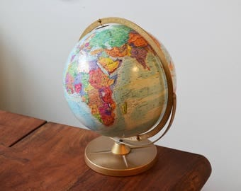 "Vintage Replogle World Globe, World Nations Series, circa 1980s Fully Rotating 12"" with metal base and axis - excellent condition"