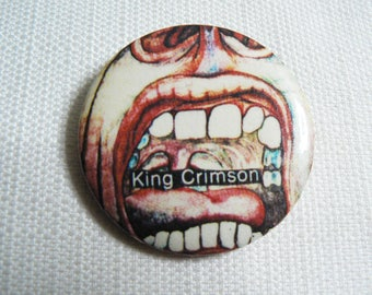 Vintage 70s King Crimson - In the Court of the Crimson King Album (1969) Pin / Button / Badge