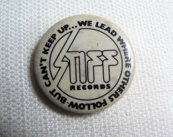Vintage Early 80s Stiff Records - We Lead Where Others Follow But Can't Keep Up - Pin / Button / Badge