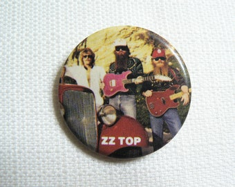 Vintage 80s ZZ Top Band Photo - Pin / Button / Badge