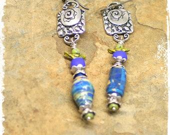 Funky Tribal Beaded Earrings, Bohemian Dangle Earrings, Ethnic Earrings, Stacked bead earrings, Multicolor Paper Bead Earrings, OOAK Jewelry