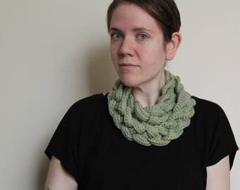 Crochet Cowl, in Light Green with a Double Braid and Button