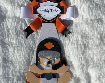 Harley Davidson Baby Shower, Little Ryder Baby Shower Corsage, Mommy Pin  Daddy Pin,