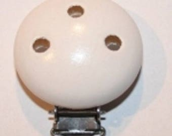 Pacifier, pacifier white - not shiny wooden clip