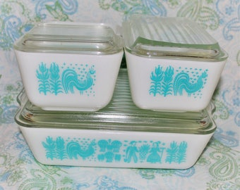 Vintage 1950's Amish Butterprint Pyrex Milk Glass Refrigerator Bowl Dish Set with Lids, Full Set