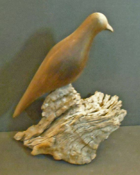 Vintage Original Mourning Dove Wood Carving - English Harewood on Desert Wood Base - By Hazel Brown of Tubac Arizona 1969