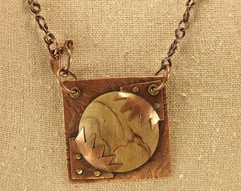 Square Copper and Wood Pendant with Chain
