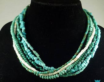Multi Strand Turquoise Necklace, Gifts for Her, Simulated Turquoise Necklace, Vintage Clasp, Multistrand Turquoise Necklace