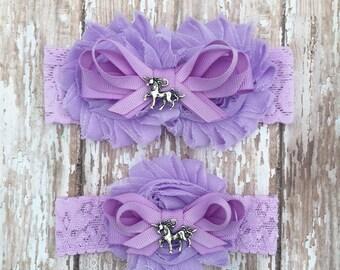 Unicorn Garter Set | Lavender Bridal Garter and Toss Garter