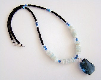 Ocean Spirit Necklace, Blue Swarovski Crystal Pendant, Swarovski Crystal Green Aquamarine Necklace, Blue Crystal Aquamarine Bead Necklace