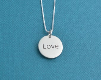 Braille Love Charm in sterling silver.  Braille Jewelry.  Jewelry for blind.