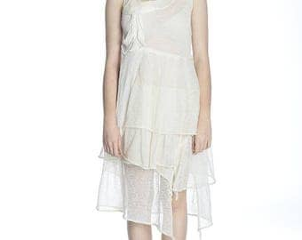 Special price. Summer girlish transparent off-white dress, S/M size.