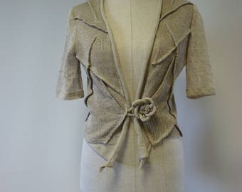 Special price. Handmade taupe linen short cardigan, M size. Made of pure linne, feminine look.