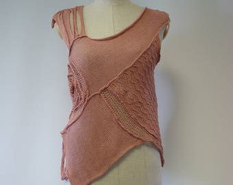 Special price. Artsy Summer pink linen top, M size. Only one sample, sexy look.
