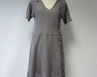 Handmade grey linen dress, L size.