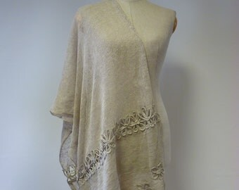 The hot price, taupe linen shawl. Perfect for gift, made of pure linen.