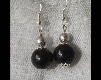 Black - Oléron pearls earrings