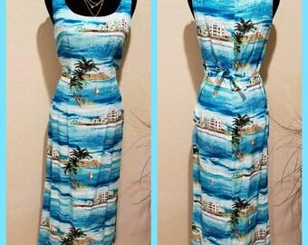Vintage 80s Hawaiian tiki dress - 80s Hawaiian maxi dress - Clues Collection Paris New York - vintage 80s floral dress