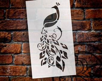 Enchanting Peacock Art Stencil - Select Size - SKU: STCL737
