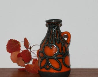 50%OFF Great vintage retro ceramic handled Vase. Glossy orange glaze with black lava. Made by Scheurich, West Germany