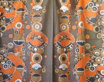 Set aus 2 langen Flächenvorhänge Baumwolle Baumwolle, jeweils: 197 x 65 cm / 77,5 x 25,5 Zoll, Braun Orange Kreise geometrische abstrakte Stoff #3-17