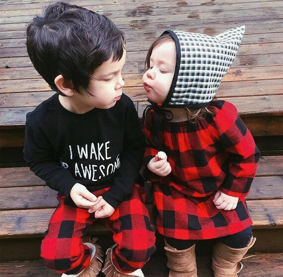 Red Buffalo Plaid Toddler Dress Toddler Romper Baby Romper Plaid Flannel Romper with Snaps Christmas Romper Dress Long Sleeve Romper Fall