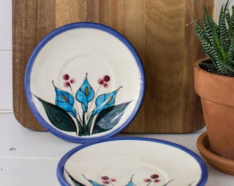 Vintage Blue Mexican Callalily Plates - 2pc Set of Small Vintage Blue Callalily Pottery Plates from Mexico