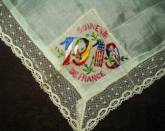 1919 Silk Handkerchief Souvenir France World War 1 Embroidery  Flags Lace Edge