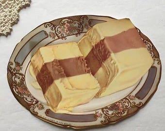Vintage chocoalte and vanilla ice cream litho, ephemera, crafting, journals, paper print, kitschy