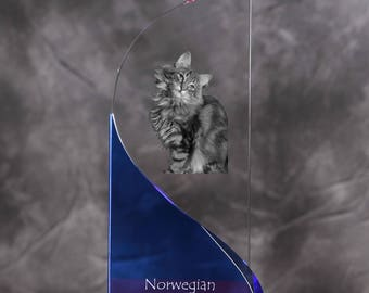 Norwegian Forest cat- crystal statue in the likeness of the cat.
