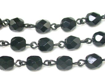 Black 6mm faceted firepolish rounds on dull dark gray metal chaining. Set of 12 or 24 inches.