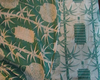 Vintage green white cotton blanket with Chinese paper lanterns