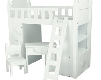 18″ Doll Bed and Desk Set