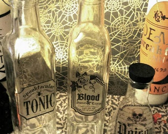Halloween Glass Potion Bottles