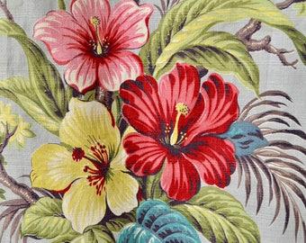 Vintage 50s Barkcloth // 1950s Tropical Floral Barkcloth Curtain Panel